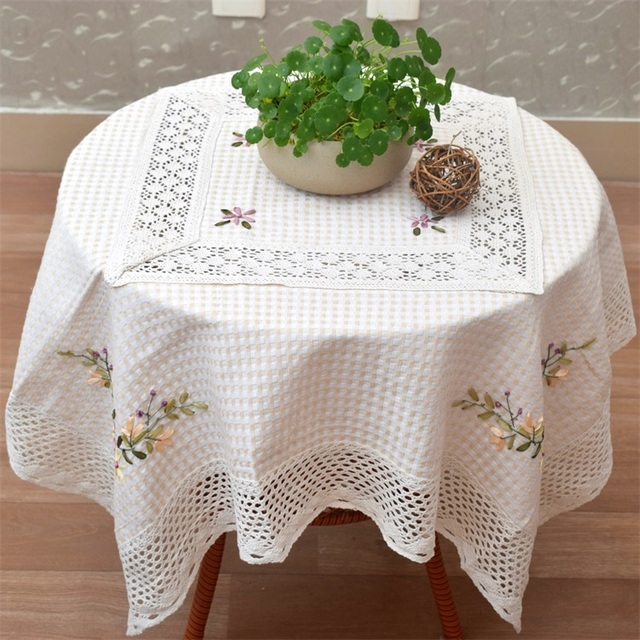 110*110 cm moderno Encaje algodón floral del paño de tabla mantel ...