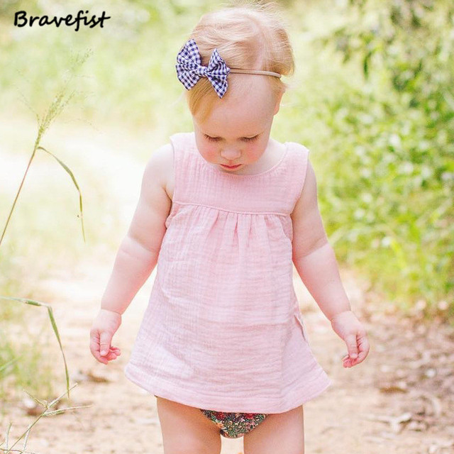 Sleeveless Cotton T-shirts For Baby Girls