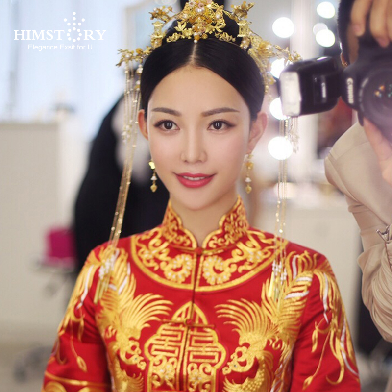 HIMSTORY New Chinese Claasical Bride Headdress Costume Retro Hairpin Gold Orient Bride Wedding Coronet Hair Accessories cele goldsmith lalli modern bride® wedding celebrations