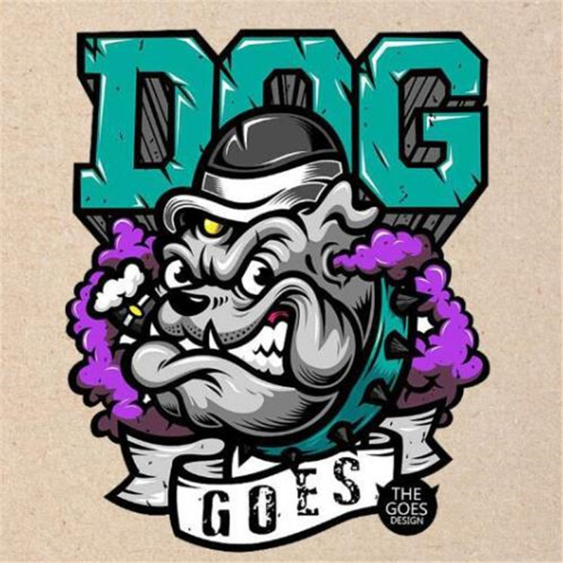 Мультфильм Улица значок Для женщин Для мужчин одежда 25 см cool dog делает Утюг по передаче печати Нашивки для одежды футболка патч наклейки