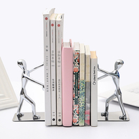 2 pcs/pair Novelty Metal Bookend Gift Kungfu Bookshelf Book Stand Shelf Holder Slive Desk Organizer Bookends High Quality