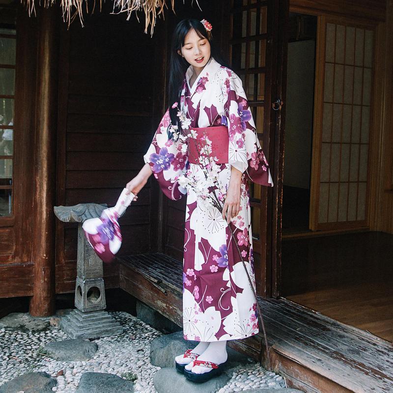 2019 Print Formal Women Long Robe Gowns Traditional Japanese Kimonos Vintage Geisha Kimono Yukata Obi Cardigan Haori Clothing