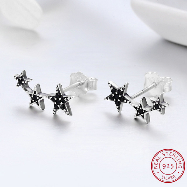 New Sale Top fashion Women Word of Colorful Star Design Sterling Silver Earrings For Elegant Ladies Women Jewelry orecchini Gift