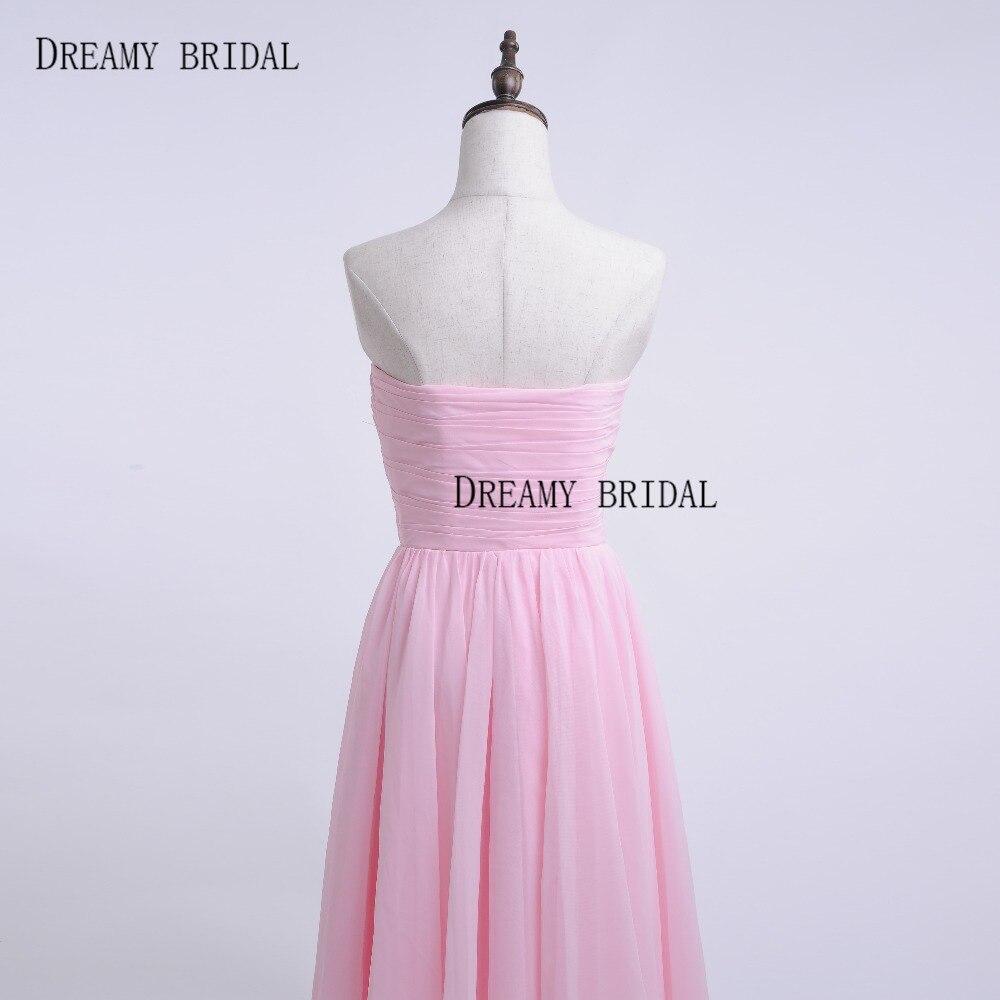 Dreamy Rosa nupcial vestido de Madrina de casamento té longitud hi ...