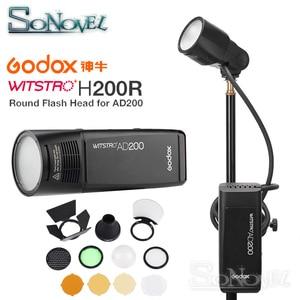 Image 1 - Godox AD200 TTL Flash H200R anneau Flash tête accessoires AK R1 porte de grange, Snoot, filtre de couleur, réflecteur, nid dabeille, Kit boule diffuseur