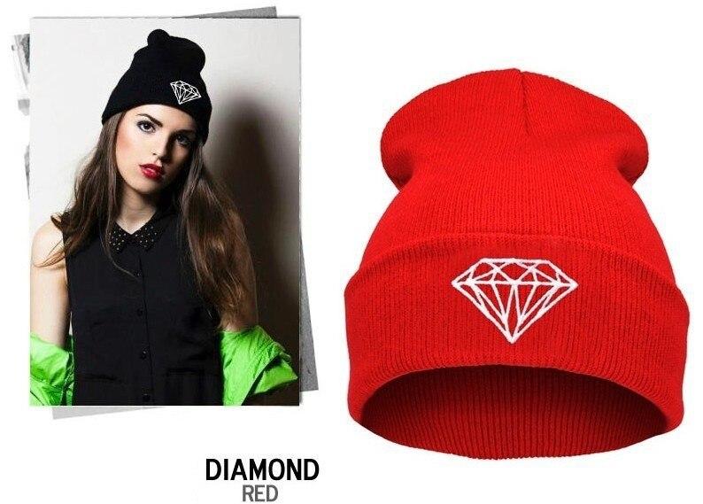 Tienda Online 2015 para mujer de moda otoño invierno diamond gorros vogue punto de esquí beanie skullies sombreros para mujer niña, capó gorras mujer,