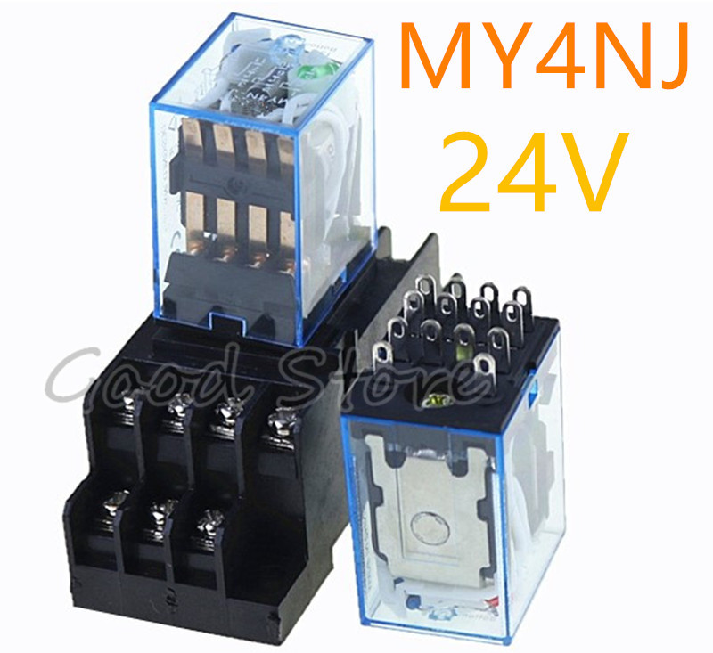 MY4NJ HH54P DC 24V Coil 4PDT 14 Pins 14P Electromagnetic Power Relay