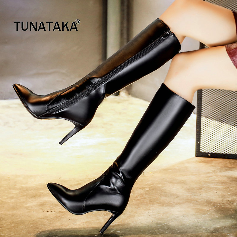 Fashion Knee High Boots Women Cow Leather Zipper Boots Sexy Thin High Heels Pointed Toe Autumn Winter Woman Shoes 2018 Boots q and q c214 102