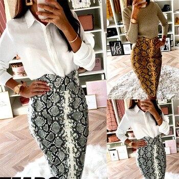 2019 Fashion Sexy Snake Print Midi Pencil Skirt Women High Elastic Waist Office Lady Bodycon Knee Length Skirts Saias Faldas Muj 8