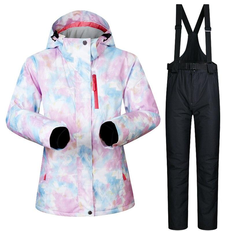 Nouvelle veste et pantalon de Ski pour femmes d'hiver imperméable à l'eau Super chaud convient aux marques de vêtements de Ski et de Snowboard pour femmes - 5
