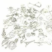 20Pcs Fashion Mixed Tibetan Silver Tone Charms Pendants Fit Bracelet DIY Jewelry Making Random Mix