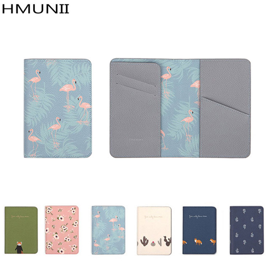 HMUNII Brand passport cover lovely small new animals and plants travel ID holder 2017 passport clip short passport sets holder