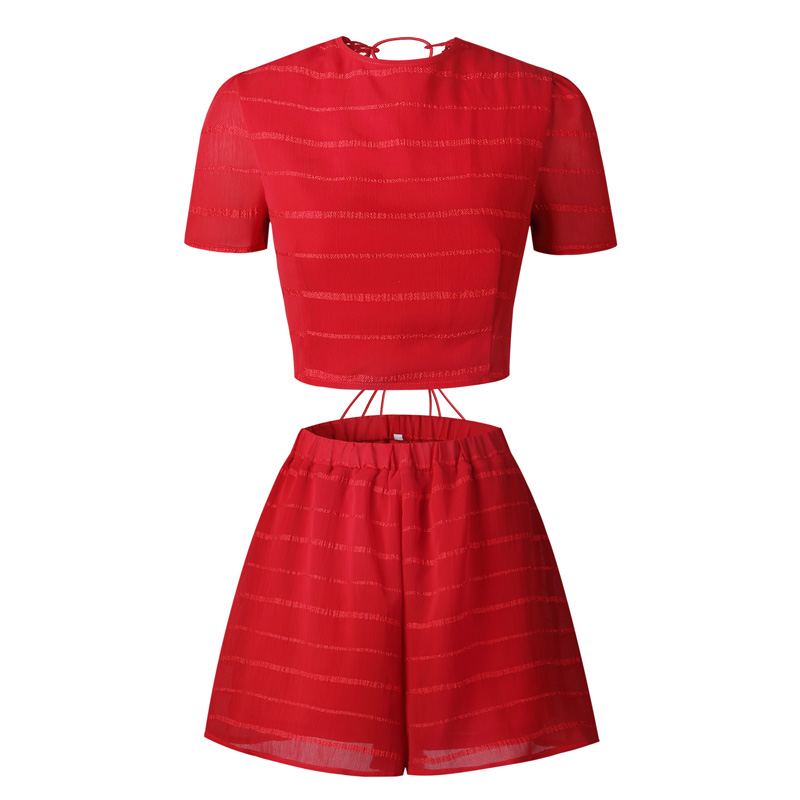 Ebizza Sexy Back Lace Up 2 Two Piece Set Women Short Sleeve Backless Crop Top Sets Bandage Cross Hollow Out Femme Shorts Suits