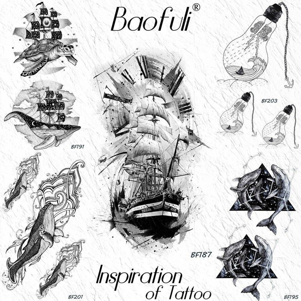 Baofuli Painting  Sailboat Pirate Navigation Temporary Tattoo Sticker Body Art Arm Leg Hand Fake Tattoos Bulb Ocean Black Tatoo