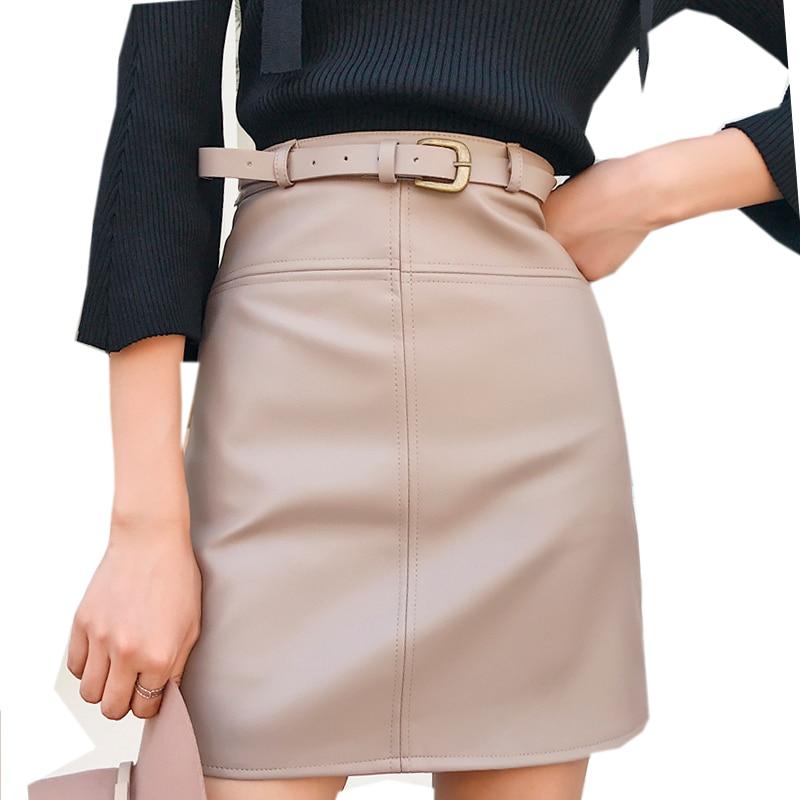 New Spring Beige Black A-Line PU Leather Skirt For Women High Waist Office Wear Skirts Female Short Skirt With Belt