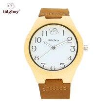 IBigboy Natural De Madera De Bambú Hombres Japón Reloj de Cuarzo Correa de Cuero Blanco Dial Analógico Reloj de pulsera Para Mujer Relojes Retro