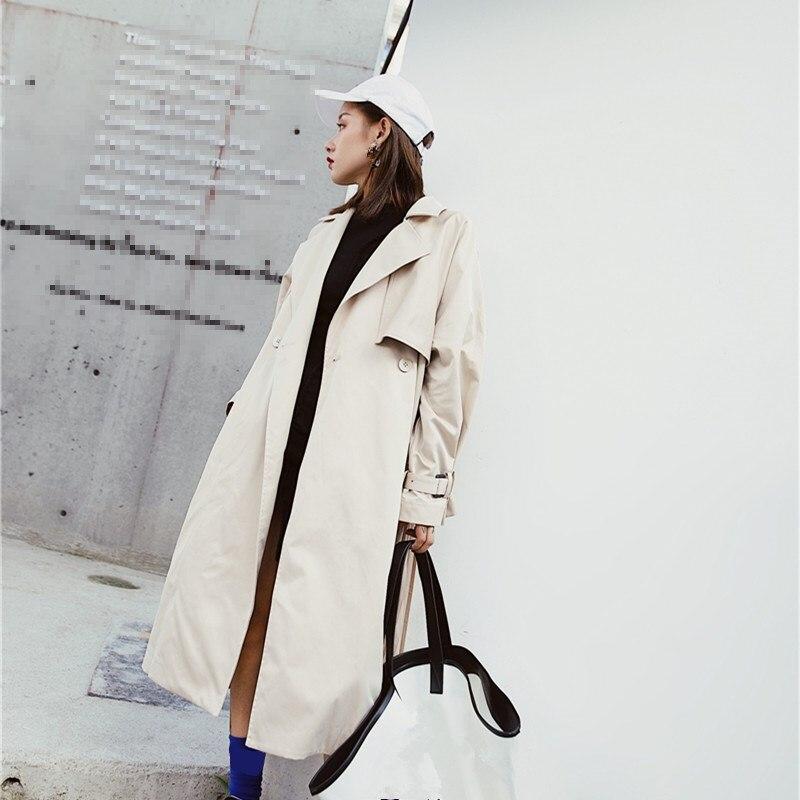 Fashion 2018 New Women Pleated Long   Trench   Coat Fashion Patchwork Big Size Windbreaker Female Long Sleeve Loose Overcoat