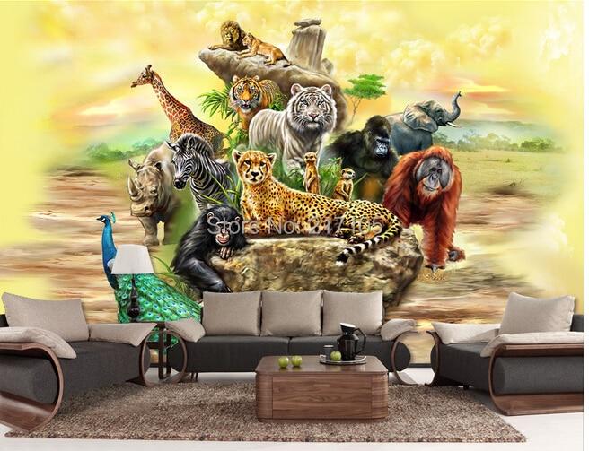 Custom 3d Stereoscopic Wallpaper Safari For Childrens Room Living Room Tv Backdrop 3d Wallpaper Home Decor Vinyl Wallpaper Wallpapers