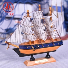 LUCKK 16CM Scandinavian Handmade Retro Wooden Model Ships Nordic Home Interior Decoration Wood Sailboat Crafts Marine Figurine