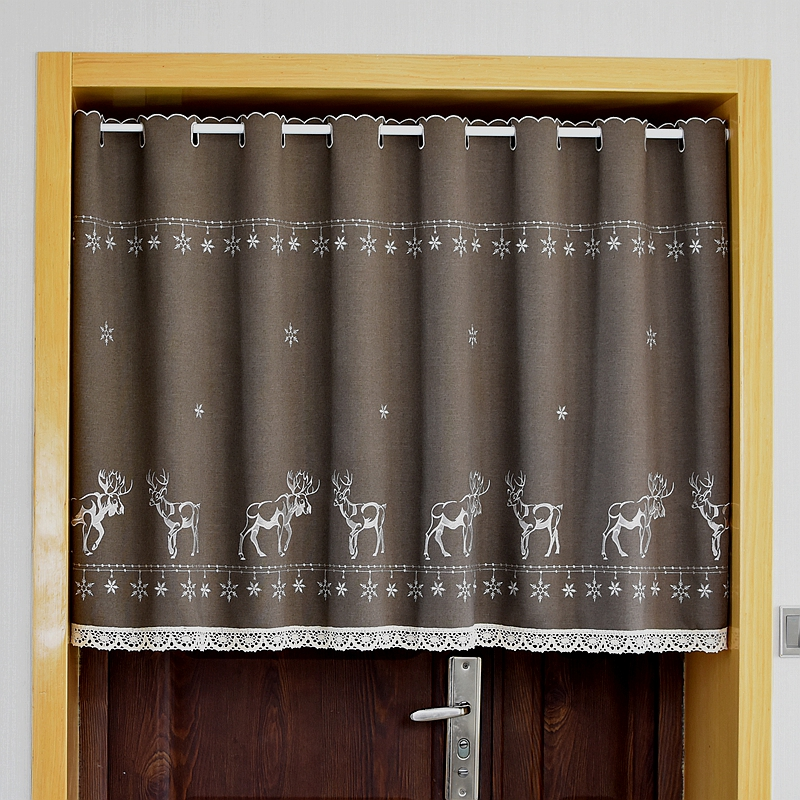 Short Curtain Cotton Cabinet Curtain Lace Embroidery Hem Christmas Snowflakes Elk Curtain Cupboard Curtain For Kitchen Door