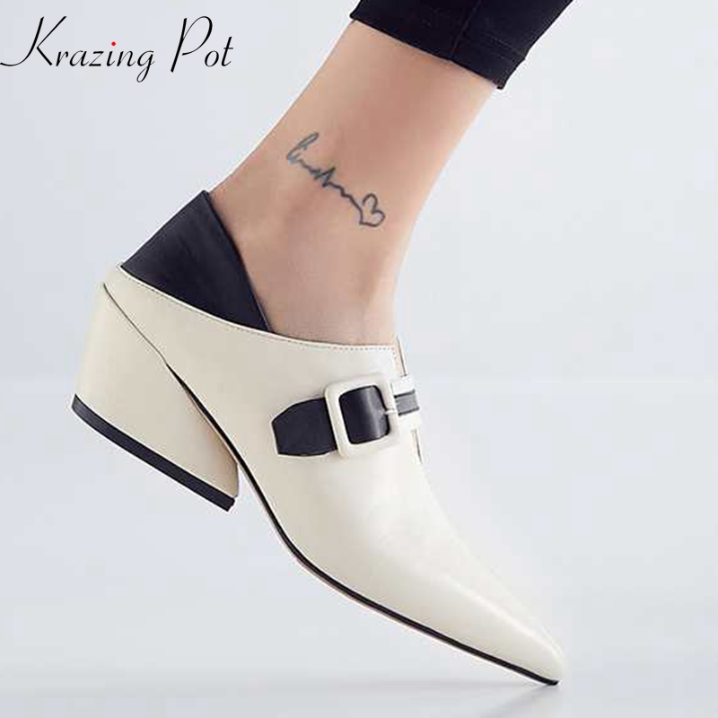 Krazing Pot genuine leather mixed color concise design daily wear office European modern square buckle pointed