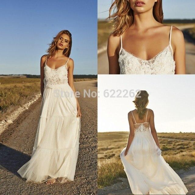 6a6cc4b198 Unique Design A Line Spaghetti Straps Beach Wedding Dresses Floor Length  Chiffon White Long Wedding Gowns