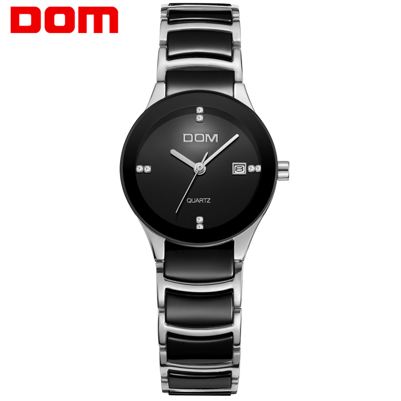 DOM women watches luxury brand Casual waterproof style quartz ceramic Automatic date watch reloj hombre marca de lujo T-529D-1M classic style natural bamboo wood watches analog ladies womens quartz watch simple genuine leather relojes mujer marca de lujo
