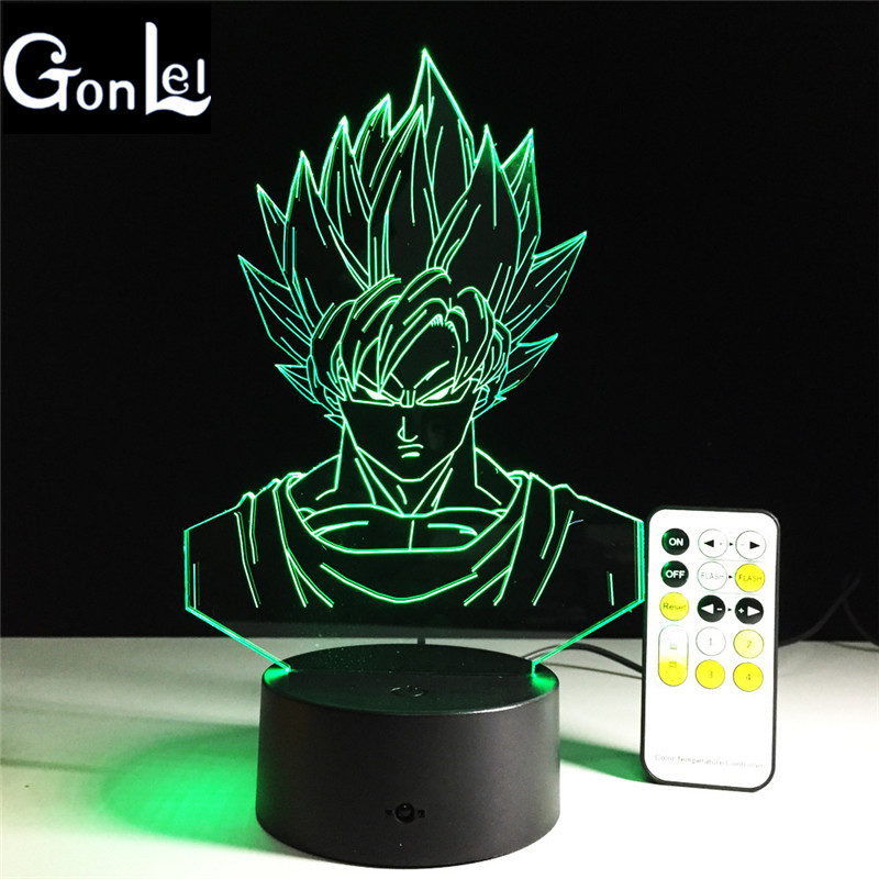 GonLeI Novelty Dragonball Son Goku 3D Lamp 7 Colorful LED Desk lamp Creative Touch Switch USB Table Lamp For Kids Gift ZB-G253-4