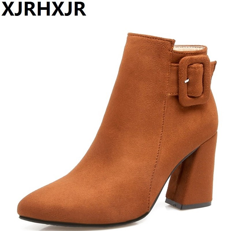 XJRHXJR 2018 Pointed Toe Shoes Woman Fashion Buckle Ankle Boots Ladies Thick High Heels Autumn Winter Martin Boots Large Size egonery quality pointed toe ankle thick high heels womens boots spring autumn suede nubuck zipper ladies shoes plus size