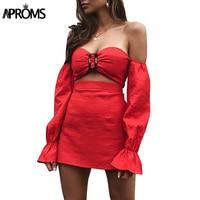 Aproms الأحمر الأبيض قبالة الكتف 2 قطعة bodycon اللباس المرأة الصيف اللباس الإناث مثير حمالة فستان قصير vestidos 2018 جديد