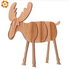 1PCS 2 Sizes Christmas Wooden Deer Pendants Ornaments DIY Ornaments Xmas Tree Ornaments Kid Gift For Christmas Party Decoration