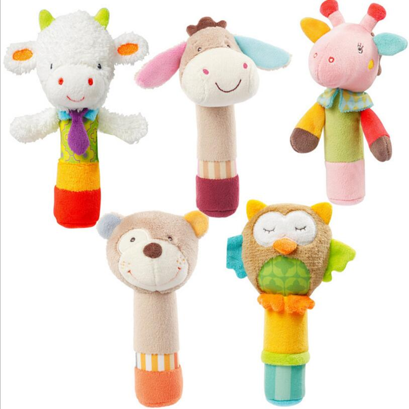Animal Plush Rattles Hand Bells Owl Bear Deer BB Sound Educational Funny Toys Gift for Newborn