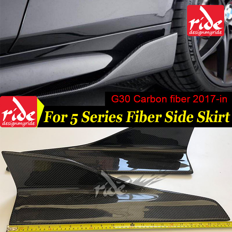 <font><b>G30</b></font> Carbon Fiber General-purpose Side Skirts Splitters Flaps for BMW 5-Series <font><b>G30</b></font> <font><b>520i</b></font> 525i 530i Side Bumper Extension Skirt 17+ image