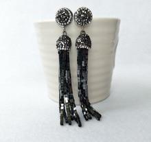 1 Pair Handmade Crystal hematite Tassel Dangle Earrings, Pave Rhinestone Tassel Earring Jewelry For Women Bohemia Earring ER212
