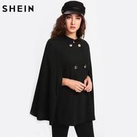SHEIN Coat Women Double Breasted Cape Coat Black Long Vintage Womens Coat Stand Collar Cloak Sleeve