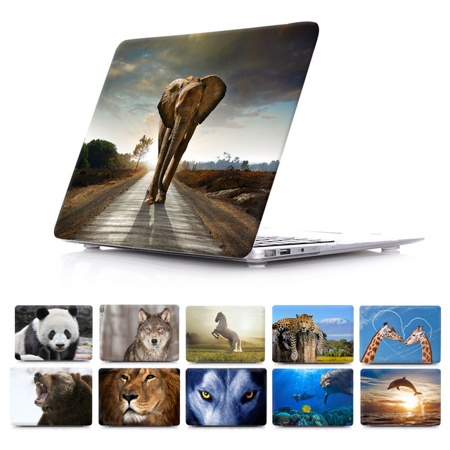 Wildlife Elephant Giraffe  White Horse Lovely Dolphin Cover For macbook pro 13.3 15.4 case with retina macbook air 11 12 13 case