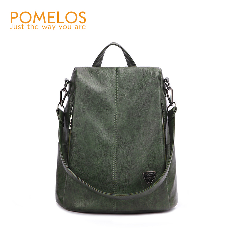 POMELOS Backpack Female New Women PU Leather Backpack Bag Anti Theft High Quality Softback Vintage Travel Backpacks For Girls pomelos backpack female designer new women leather backpack anti theft high quality soft back pack casual backpacks school bags