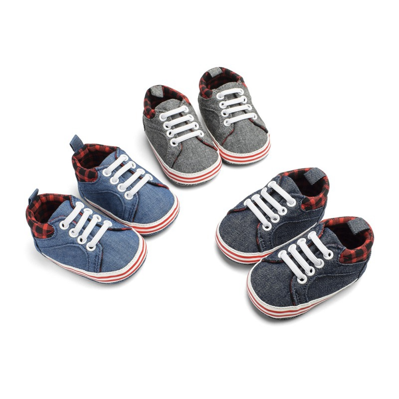 Cute Newborn Baby Boys Soft Denim Checked Canvas Shoes Sneaker Infant Prewalker Toddler Shoes