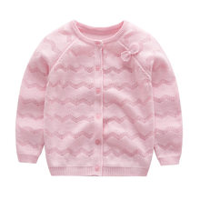 Hollow Out Cardigan Baby Girl Toddler Kids Knitting Sweater Bowknot Round Collar Outfit Coat Cotton Soft Comfortable Pullover