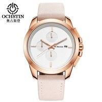 OCHSTIN Rose Gold Simple Designer Sport Watches Men Top Luxury Brand Military Watch Quartz Watches Men Leather Business Watch