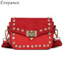 Croyance Small Flap Bag Rhinestones Handbag Female Color Wide Strap Shoulder Messenger Bag Crossbody Purse
