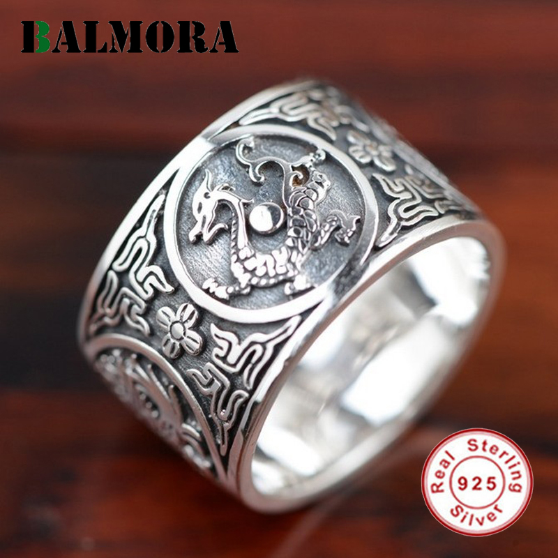 BALMORA 100 Real 925 Sterling Silver Jewelry Dragon Rings for Men Male Accessories High Quality Vintage