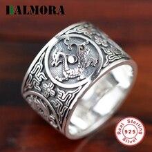 Balmora 100% реальные 925 пробы Серебряные ювелирные изделия дракон Кольца для Для мужчин мужской Аксессуары высокое качество Винтаж кольца ювелирные изделия SY20384