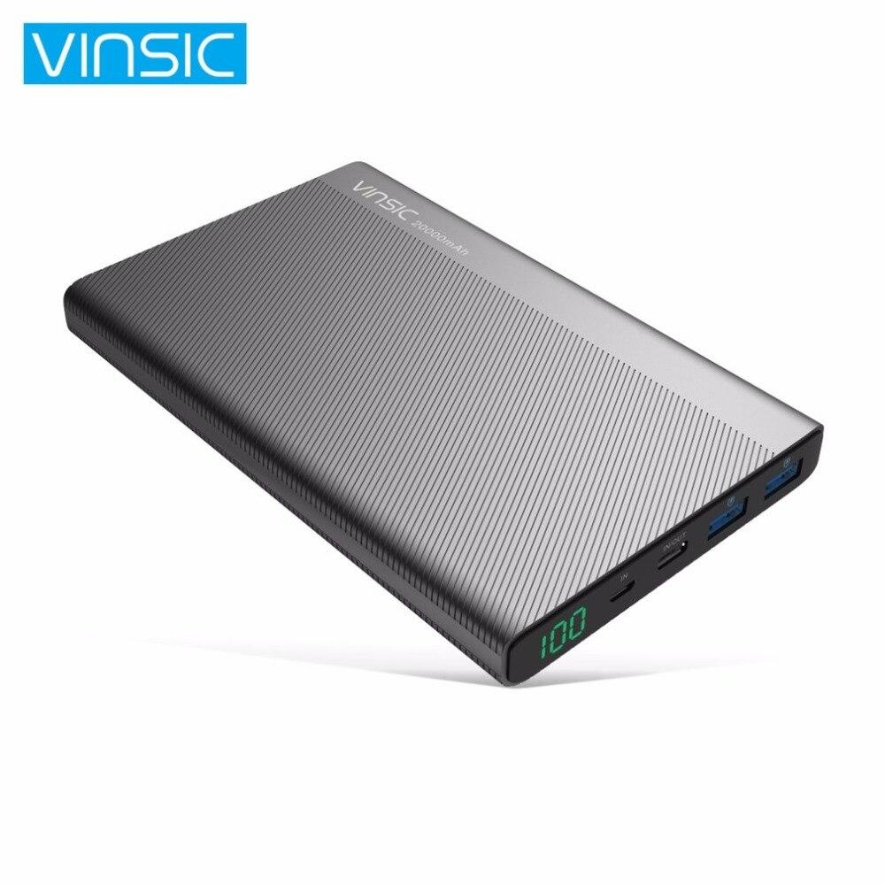 VINSIC batterie externe 20000 MAH Double usb de type-C Ports Résistance Shell batterie externe banque d'alimentation de chargeur pour Iphone Smartphones