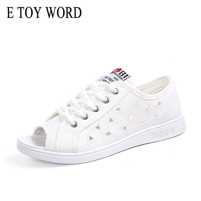 E TOY WORD Canvas Sandals Female Summer 2018 New hollow wild casual flat shoes Open Toe breathable women shoes students lypo women sandals 2018 new flat bottom open toe bow candy color sandals casual crystal jelly shoes women breathable flat shoes