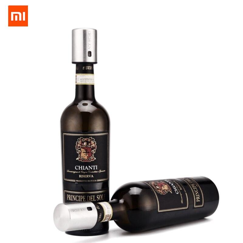 Xiaomi Kreis Freude Runde Edelstahl Rotwein Mini Stecker Wein Stopper Vakuum Effiziente Erhaltung Speicher Integration