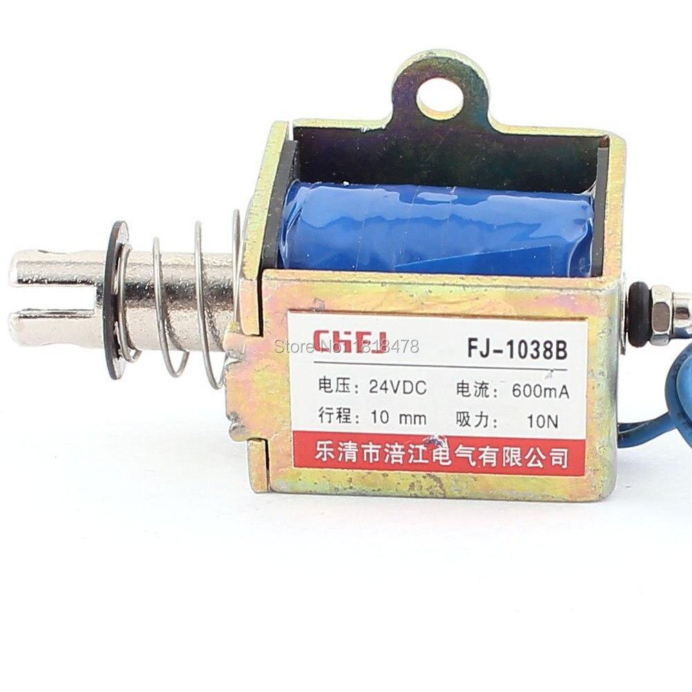FJ-1038  Push Pull Type DIY DC Electromagnet Magnet Solenoid 10mm 10N DC 24V 0.6A dc3 12v push pull type solenoid electromagnet dc micro solenoid