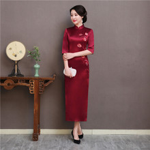 Royal Women Business Formal Long Dress High Quality Embroidery Flower Qipao 100% Silk Half Sleeve Cheongsam Vestidos Size S-3XL