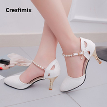 Cresfimix women comfortable spring & summer 7cm high heel pumps lady casual whit