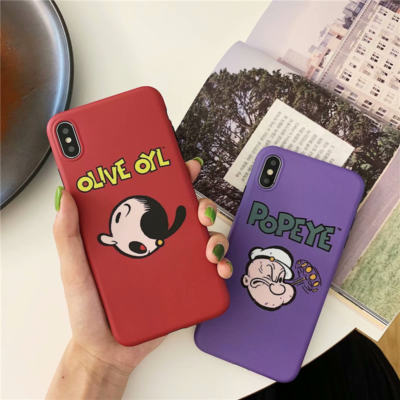 JAMULAR Funny Anime Popeye the Sailor Phone Case For iPhone 8 XS MAX XR 7 6 6s Plus Soft IMD Back Cover For iPhone X Slim Shell in Half wrapped Cases from Cellphones Telecommunications